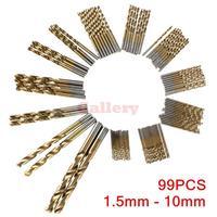 99pcs 1.5mm 10mm Titanium Coated High Speed Steel Drill Bit Set Manual Twist Drill Bits