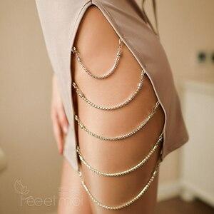 Image 5 - Сексуальное женское белье с бриллиантовой цепочкой и разрезом по бокам, платье с открытой спиной, эротическое женское нижнее белье