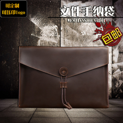A4 Leather Document Bag Large Capacity Business Briefcase Cowhide leather Manager Bag Company Annual Meeting Prize gift