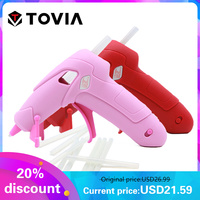 TOVIA Cordless Hot Melt Glue Gun 2200mAh Rechargeable USB Repair Pink Heat Gun Mini Portable DIY Craft Repair Home Power Tool