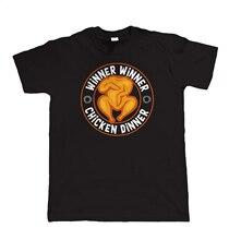 Winner Chicken Dinner Mens PUBG T Shirt, Video Game PC Gamer Gift for Him New Shirts Funny Tops Tee