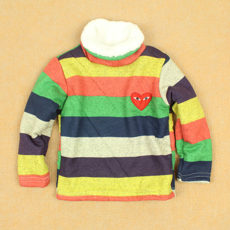 Winter male female child baby thermal pullover child knitted cotton berber fleece basic turtleneck shirt