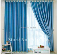 Classic Customized Stripe Blackout Fabric Blue Upholstery Hotel Decoration Window Rod Eyelet Curtain
