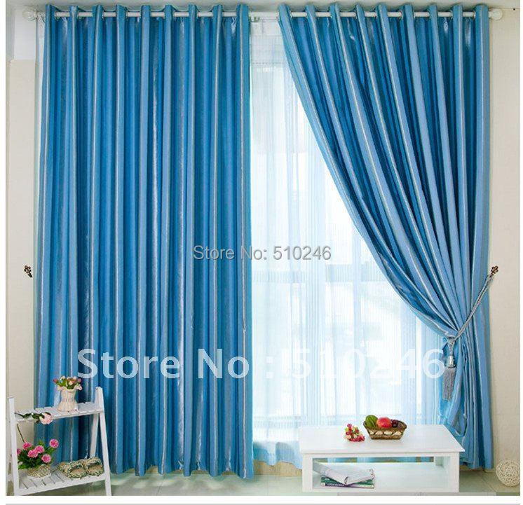 Classic Customized Stripe Blackout Fabric Blue Upholstery Hotel Decoration  Window Rod Eyelet Curtain