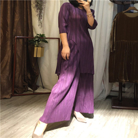 Новый Miyake сплошной цвет тонкий размер маленький рубашки + Fold ширина ногу качели Штаны плиссированные костюм Бесплатная доставка
