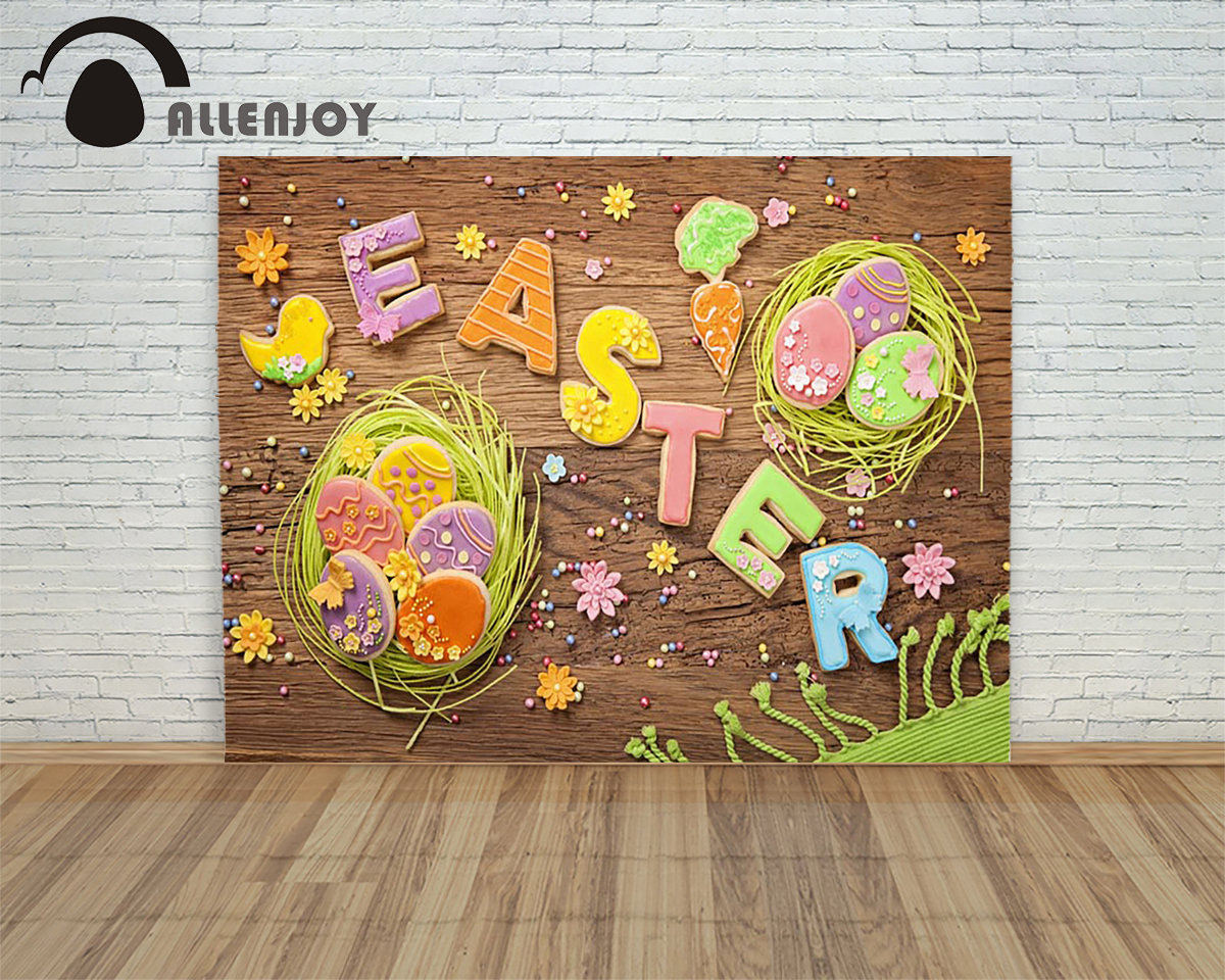 Allenjoy backdrops Easter eggs wood Cookies Candy Fun Child children studio photography backdrop