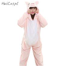Pig Pajama Onesie Women Adult Lovely Pink Animal Cosplay Costume Flannel Warm Soft Sleepwear Girls Cartoon Carnival Party Fancy(China)