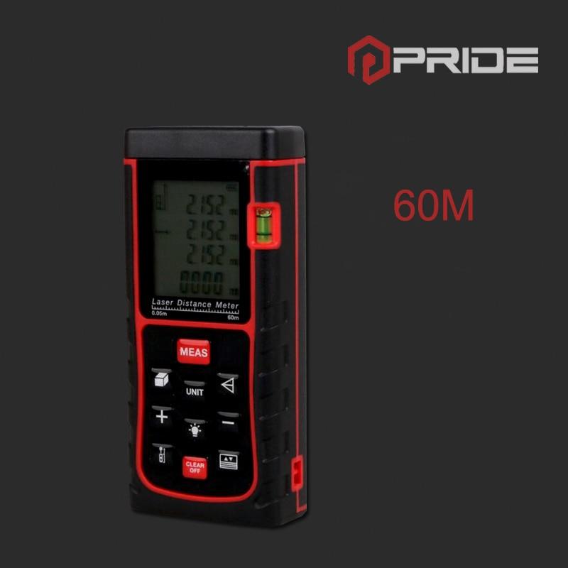 60m Digital Laser Distance Meter Rangefinder Tape Laser Measure Distance/Area/Volume M/Ft/in Level Tool