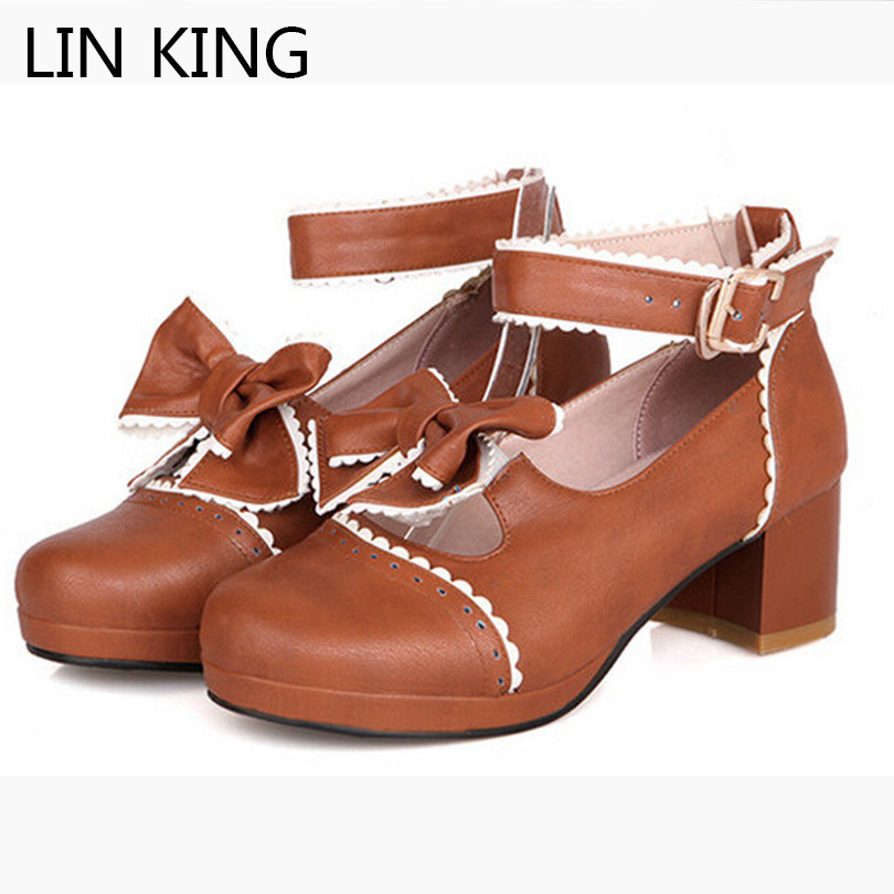 LIN KING New Women Pumps Round Toe Bowtie Sweet Cute Slip-on Lolita Shoes Party Leisure Autumn Thick Square Heel Platform Shoes lin king danganronpa nanami chiaki anime cosplay shoes lolita sweet lady wedge shoes round toe buckle women pumps plus size 43