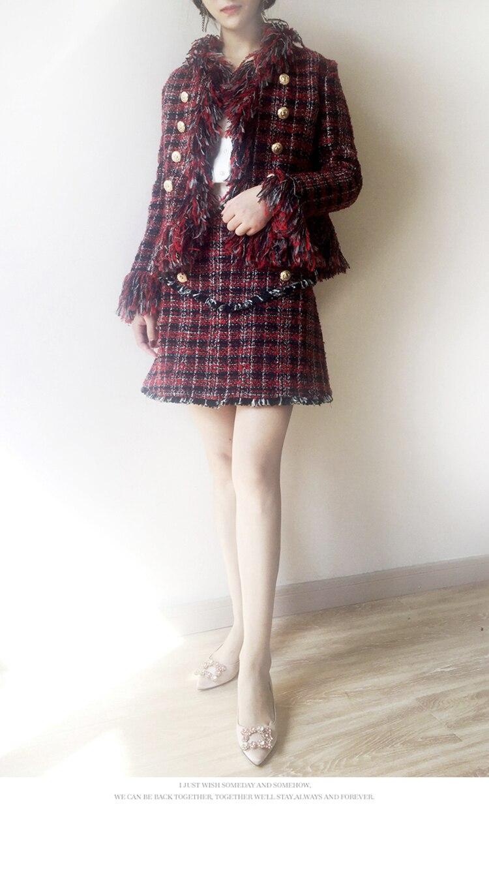 Hiver À Dame Vent De Pour Tempérament Rouge Petit Manteau Vêtements Mode Parfumé Laine Nouveaux Costume Noir Femmes La A8RdUxAq