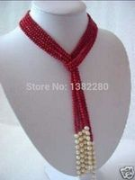 Free shipping! 5MM Charming Red Coral & White Pearl Scarf Necklace 50