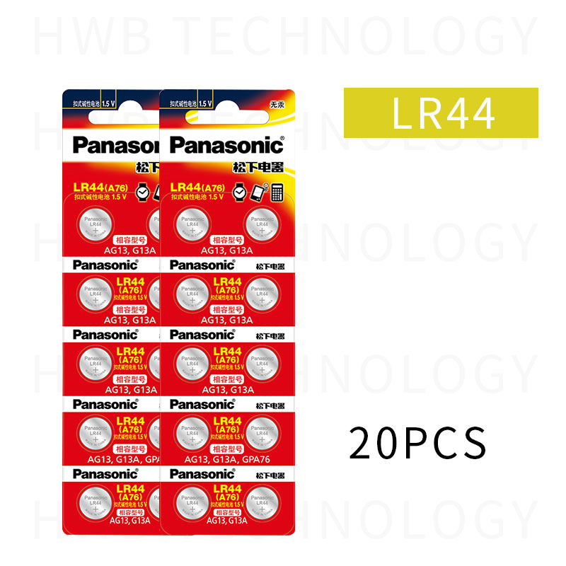 20X PANASONIC LR44 A76 AG13 0%Hg SR1154 357 LR 44 1.5V Cell Battery Batteries For Calculator 0%Hg