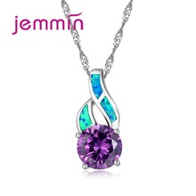 Фотография  Jemmin Charming 925 Sterling Silver Blue Fire Opal Pendants Necklaces For Women Austrian Crystal Engagement Wedding Necklace