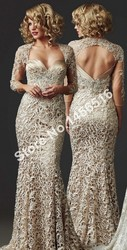 2017 new fashion custom made high lace appliques three quarter sexy trumpet mermaid floor length prom.jpg 250x250