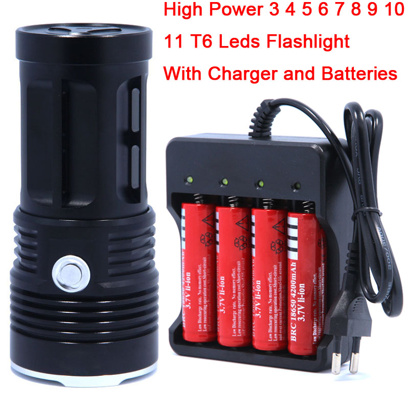 цена на High quality 3-12T6 12 x CREE XM-L T6 LED Flashlight Torch lantern Lamp Light & 4 x 18650 Rechargeable Battery & Charger