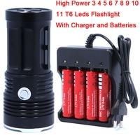 High Quality 3 11T6 11 X CREE XM L T6 LED Flashlight Torch Lantern Lamp Light