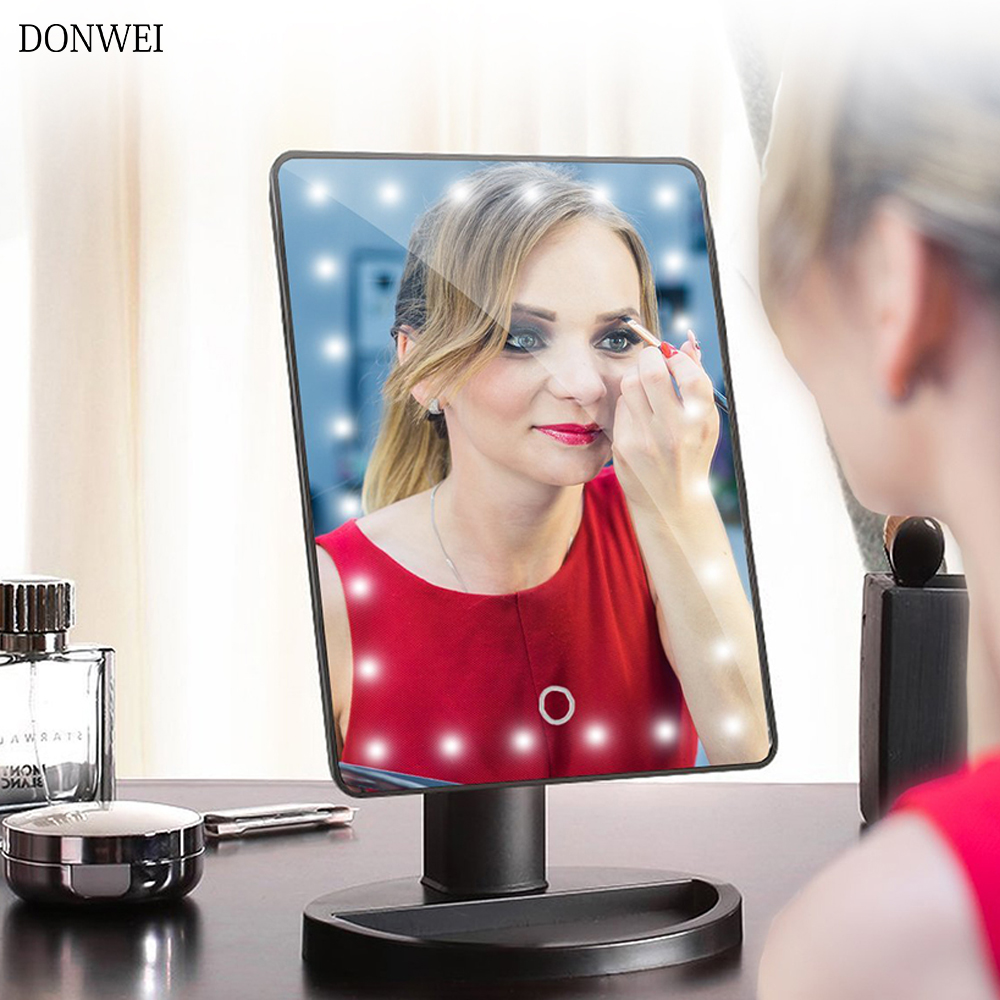 Adjustable 24 LEDs Lighted Makeup Mirror Touch Screen Portable Dimmable Vanity Mirror Tabletop Lamp Cosmetic Mirror Make Up Tool