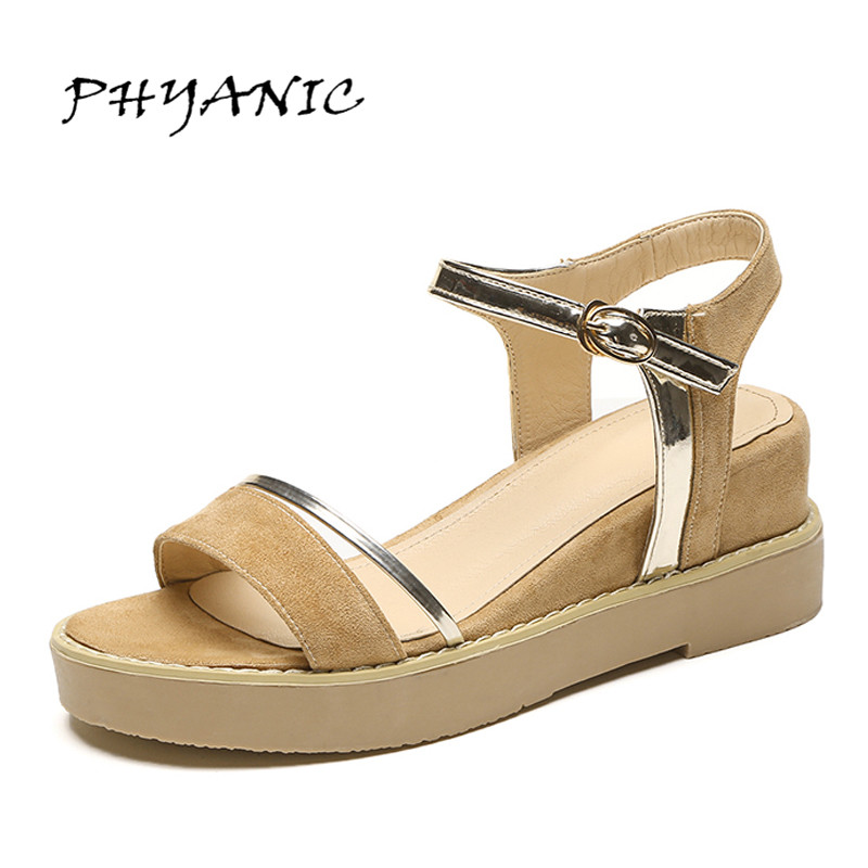 PHYANIC 2017 Women Sandals Wedges Heels Sandals Concise Summer Shoes Flock Leather Ankle Straps Style Woman Shoes PHY7103 phyanic 2017 gladiator sandals gold silver shoes woman summer platform wedges glitters creepers casual women shoes phy3323
