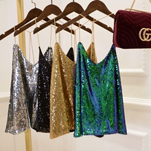 resistant Bling bling bright shining Sequin Vest Jacket multi color metal straps Camis
