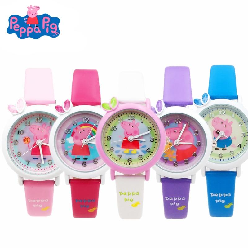 Peppa Pig Cartoon Figure Watch Toys Children's Electronic Waterproof Watch Leather Strap Quartz Watch Of Boys Girl Kids Gift