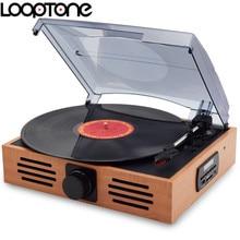 Looptone 33/45/78 Скорость usb проигрыватель Проигрыватели винила LP проигрыватель w/fm радио, разъем для наушников 45 об./мин. адаптер AC110 ~ 130 и 220 ~ 240 В