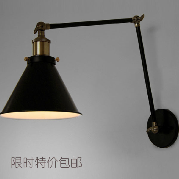 LOFT Nordic Vintage Wall Lamp Classic Black Art Sconce Decorative Light Adjustable arandela LED Swing 2 Arm Wall Lights reading ac100 240 wall sconces lamp three arms adjustable study restaurant art lights decorative wall light sconce fixture