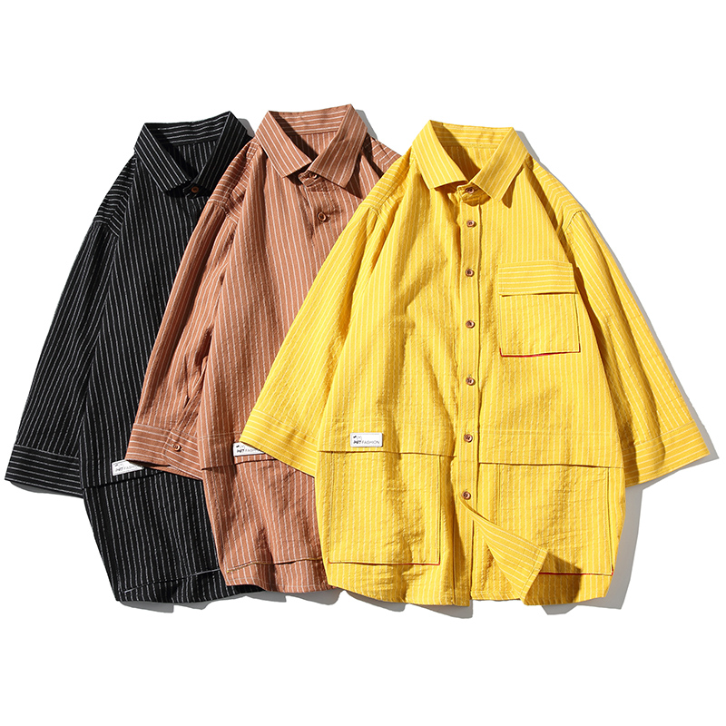 Streetwear Mens Shirts Stripe Men Half Sleeve Shirt Pocket Summer Black Yellow Brown Mens Shirt