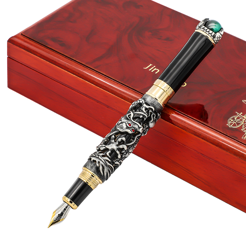 Luxury Jinhao Dragon Fountain Pen with A Rotated Pearl Fine Nib 0.5mm Metal Ink Pens Gift Box Business Office Gift Stationery dikawen 891 gray gold dragon clip 0 7mm nib office stationery metal roller ball pen pencil box cufflinks for mens luxury