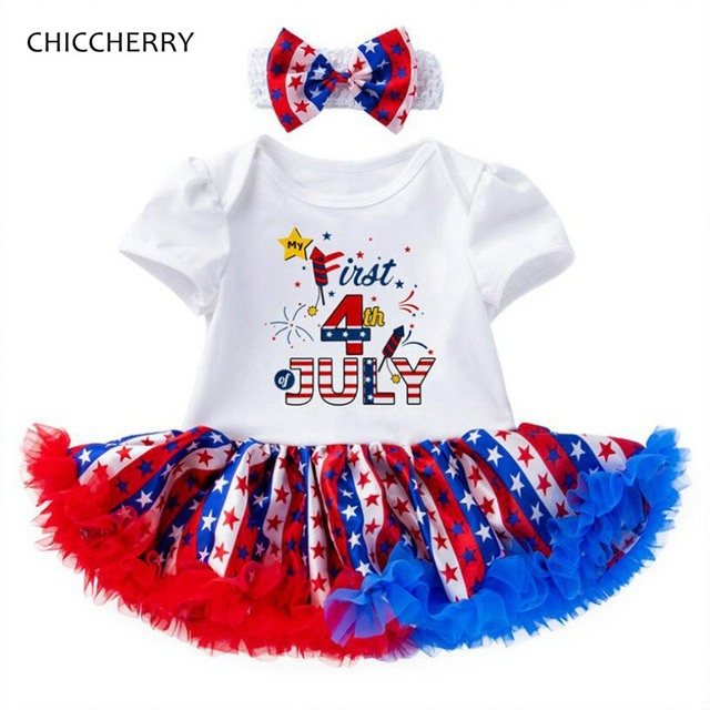 aaa0028fc Fourth Of July Baby Girl Clothes Infant Lace Petti Romper Dress Headband  Newborn Tutu Sets Little Girls Clothing Toddler Outfits
