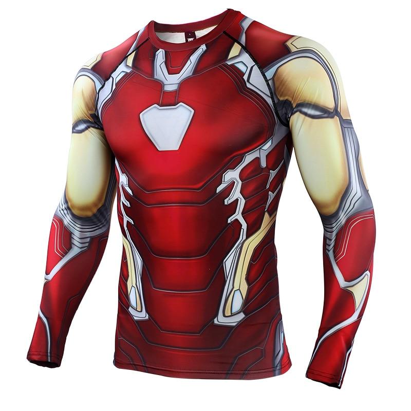 Avengers 4 Iron Man MK85 3D Printed T Shirts Men Compression Shirts Raglan Sleeve 2019 Long Sleeve Cosplay Costume Tops Male