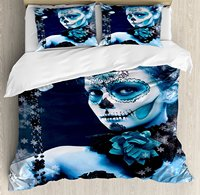 Day Of The Dead Duvet Cover Set Mexican Festive Celebration with Roses Snowflakes Dead Art 4 Piece Bedding Set