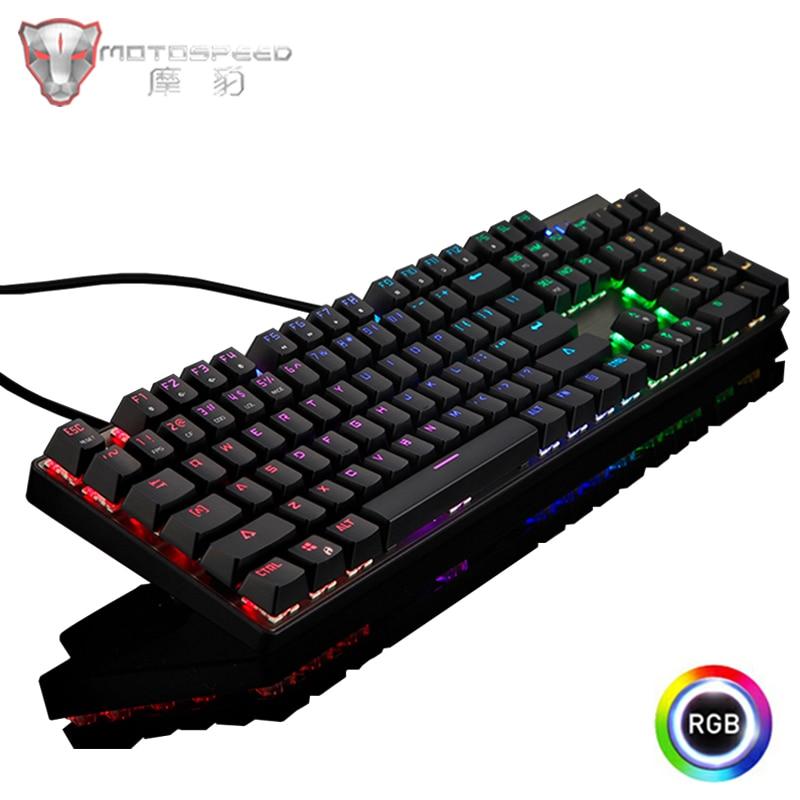 Russian/English Genuine Motospeed CK104 Gaming Mechanical Keyboard RGB Backlit 104 Key Blue/Red Switch Wired  Keyboard For Gamer