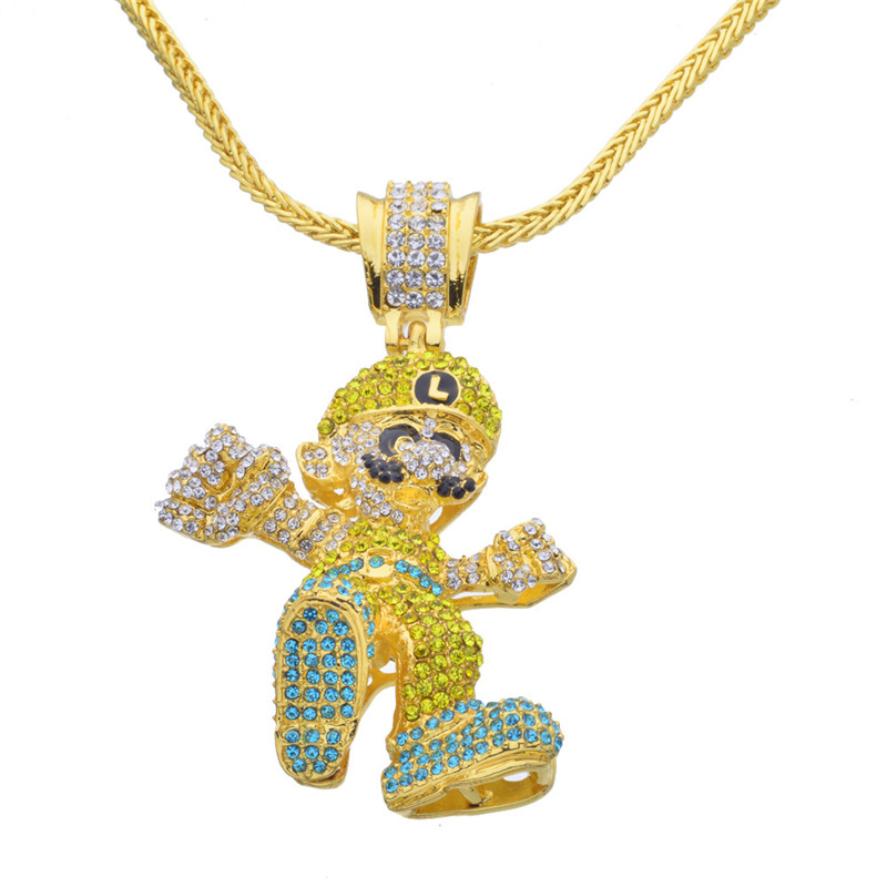 Hip Hop Iced Out Quavo Choker Full Rhinestone Cartoon Figure Pendent Necklace Present Bling Rapper Jewelry which in shower embroidered dropout bear dad hat women men cartoon rapper strapback snapback baseball cap hip hop trucker bone