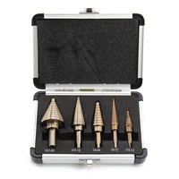 5 Pcs Large Titanium HSS Step Cone Drill Hole Cutter Bit Set Tool Case