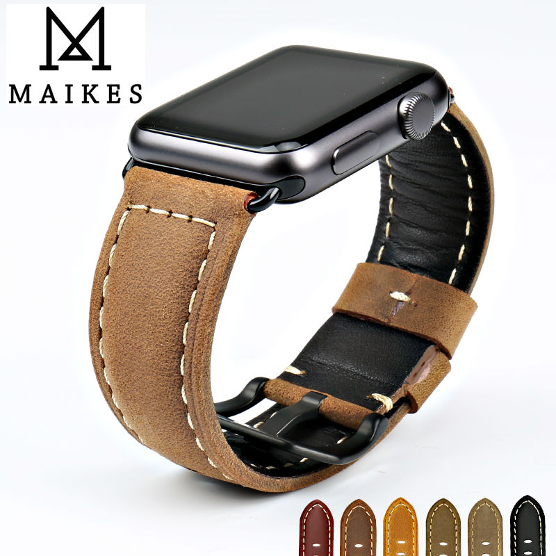 MAIKES New vintage watchband watch accessories cow leather watch strap brown for Apple Watch Band 42mm 38mm series 3 2 1 iwatch new arrival for apple watch band high quality wooden watchband black brown strap for apple watch band series 3 2 1 42mm 38mm