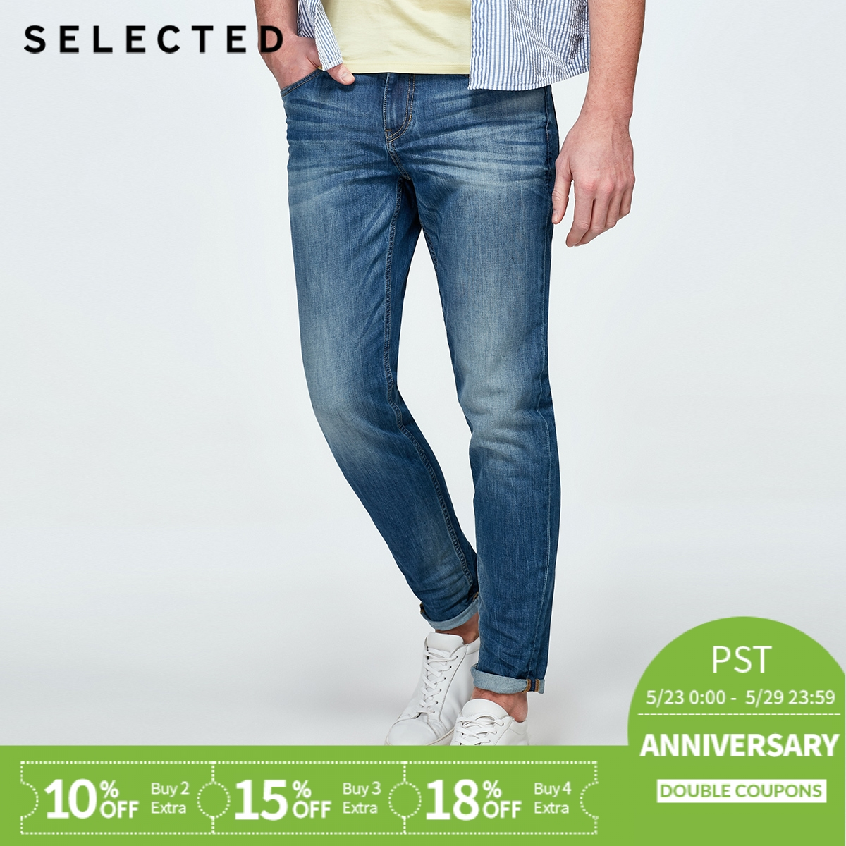 SELECTED Cotton-blend fading washed   jean   pants C|418232521