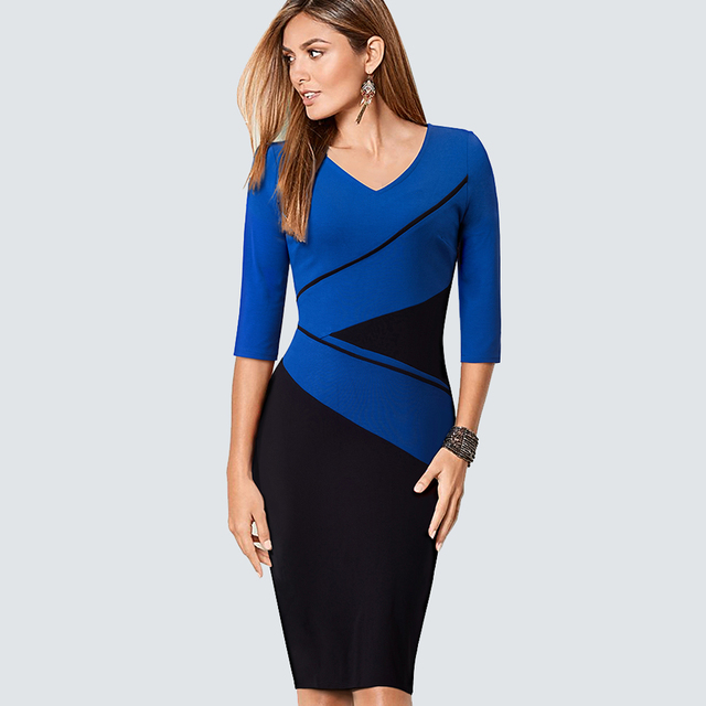 Plus Size Casual Contract ColorBlock Lady Dress Women Classic V Neck Work  Office Business Sheath Bodycon 3746444dc408