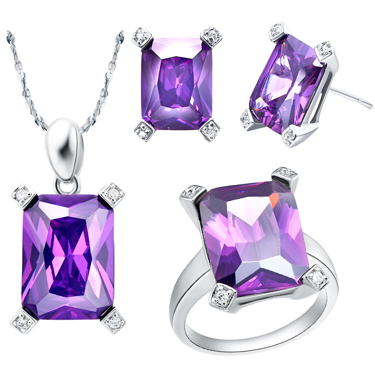 Necklaces Earrings&rings Strengthening Sinews And Bones Industrious New Fine Jewelry Sets For Women rose Gd Plated Blue Crystal,siler Plating Purple Crystal