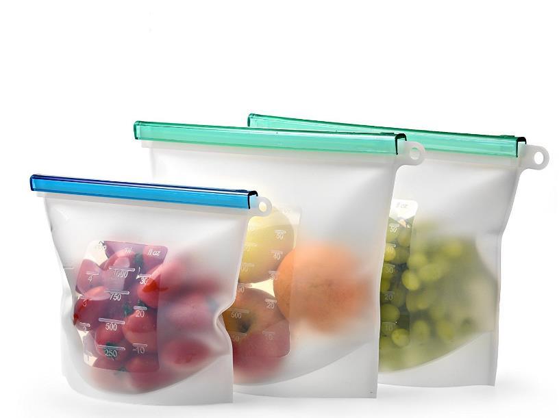 Многоразовые силиконовые пищевые пакеты, пакет для свежего обеда, пакеты для сэндвичей, закусок, морозильников, герметичные пакеты для хран...