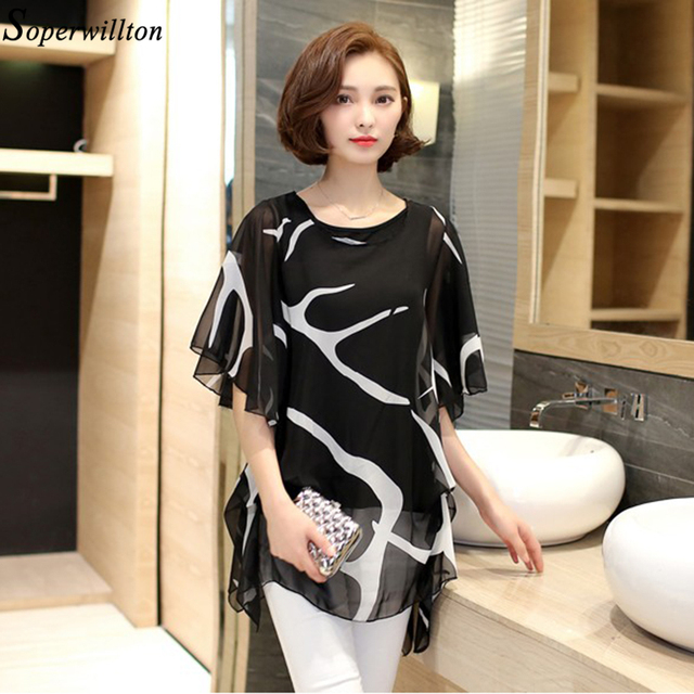 New 2016 Women Blouses Elegant Ruffle Chiffon Blouse Loose Shirt Ladies Casual Top Female Women Clothing Blusas Plus Size 6XL D