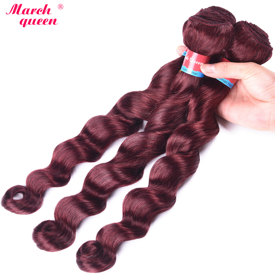Intellective Marchqueen Indian Loose Deep Wave Hair Bundles #99j Red Wine Color Hair Weft 3 Pcs/lot Non Remy Human Hair Extensions Hair Weaves Human Hair Weaves