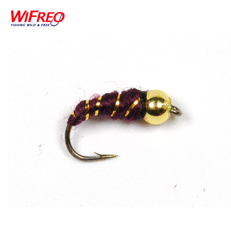 10PCS Free Box Wifreo Plastic Golden Bead Head Nymph #14 Midge Small Bugs for Trout Bream Blue Gill Fly Fishing 12pcs 14 red tail bead head buzzer nymph fly for trout fishing lures