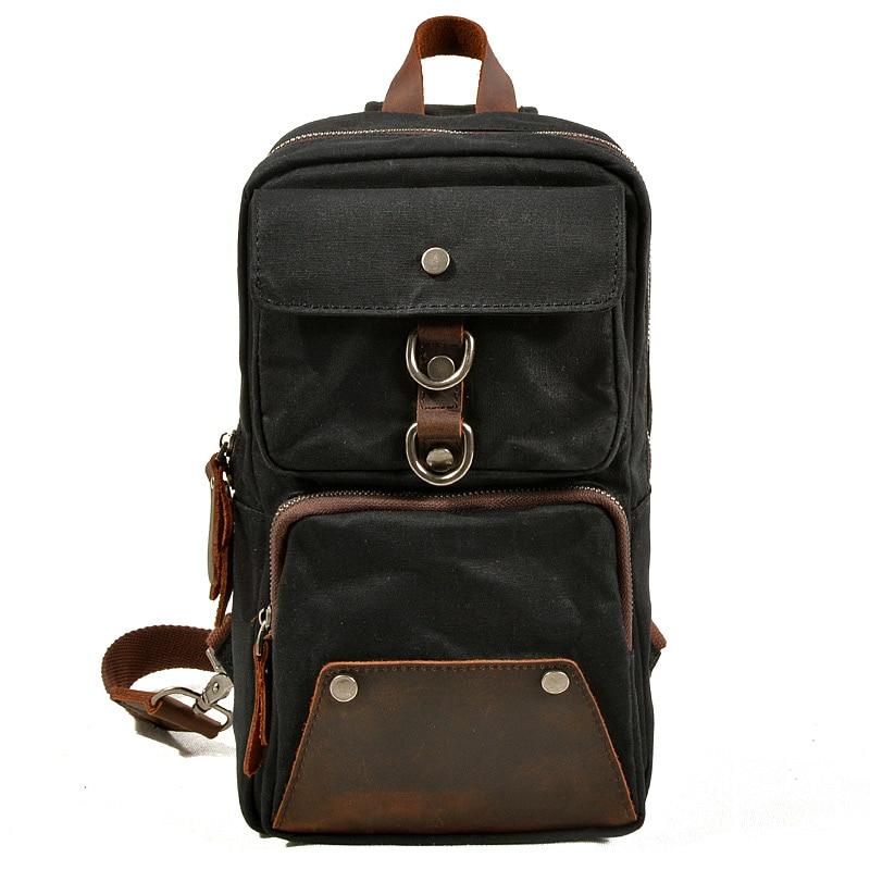 Muchuan 6030 # sac de poitrine de sport en plein air pour hommes sac à bandoulière imperméable à l'huile cire sac en toile pour la vie accessoires et ordinateur portable de 8 pouces