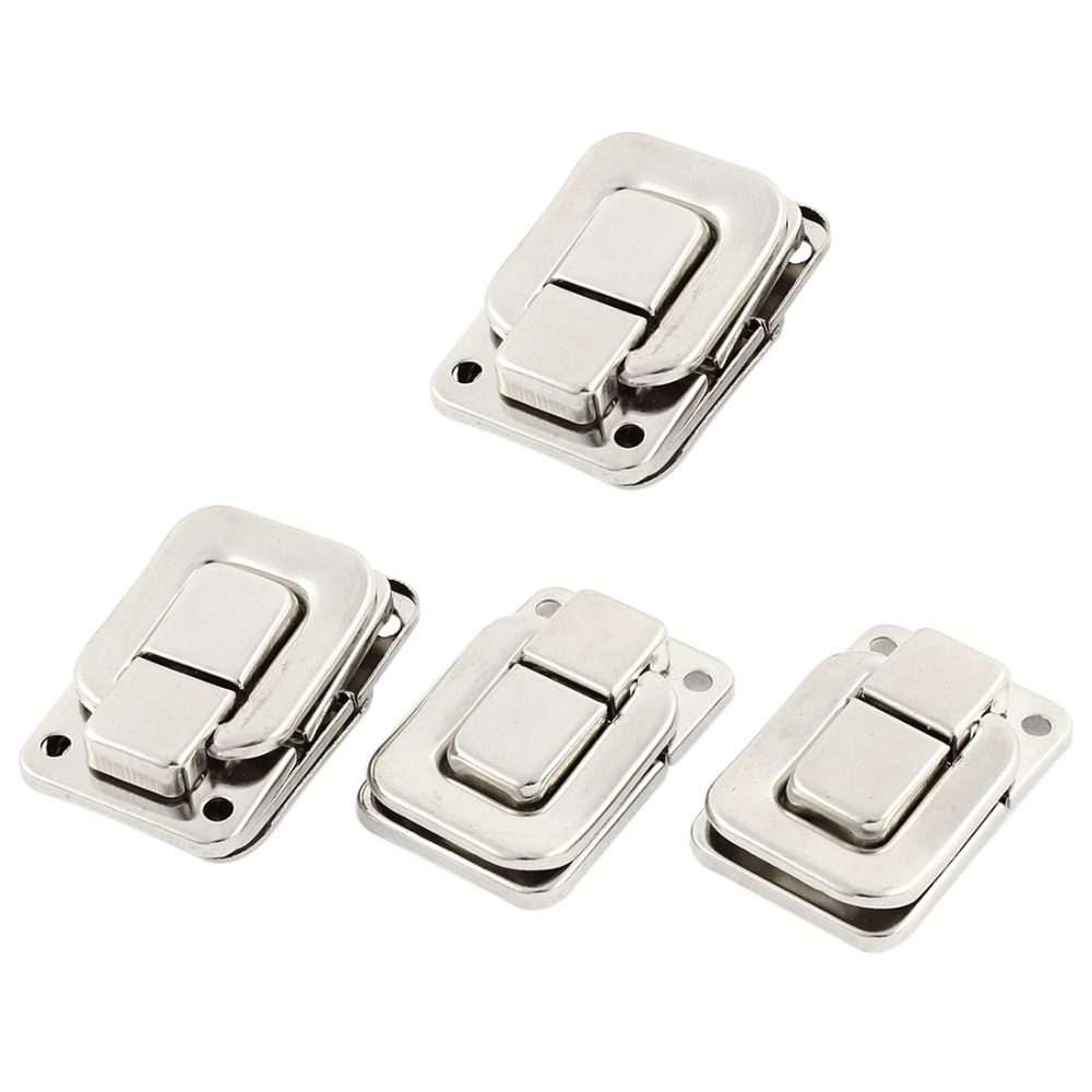 4pcs Metal Spring Draw Toggle Latch Silver Tone for Chest Box Case Suitcase Hasps & Locks