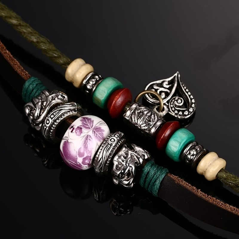 Meaeguet Vintage String Heart Bracelets For Women Genuine Leather Ceramic Wood Bead Braided Rope Leather Charm Bracelets