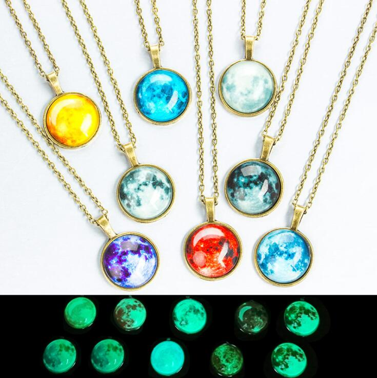 2018 New Glass Luminous Star Series Planet Necklace Crystal Cabochon Pendant Glow in the Darkness Necklaces Christmas Jewelry