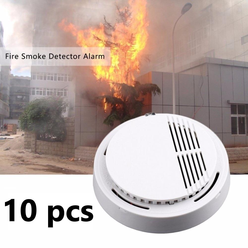 10pcs Alarm Safety Smoke Fire Detector Sensor 85 Decibel Alarm System