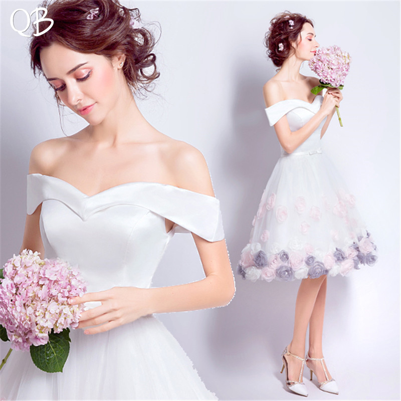 Ball Gown Cap Sleeve Tulle Lace Flowers Appliques Short Wedding Dress 2019 New Fashion Bridal Dresses