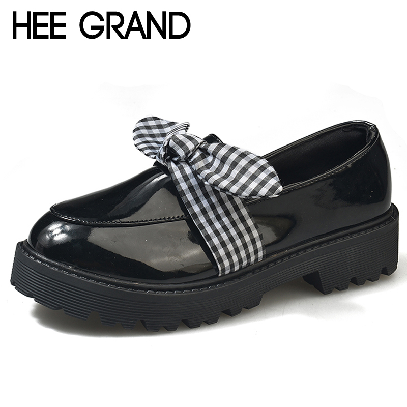HEE GRAND Pearl Brogue Platform Women Pumps With Bowtie Patent Leather Shoes Woman Round Toe Slip On Loafers Women Shoes XWD6896 hee grand sweet patent leather women oxfords shoes for spring pointed toe platform low heels pumps brogue shoes woman xwd6447