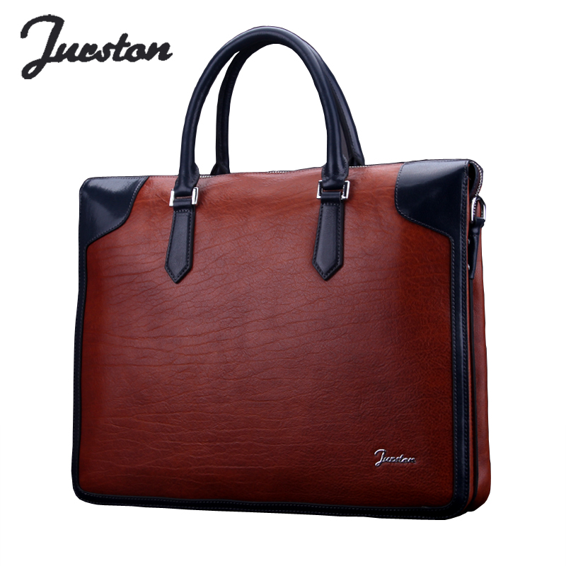 Wire fashion brief commercial male genuine leather man bag briefcase handbag cream cowhide laptop bag